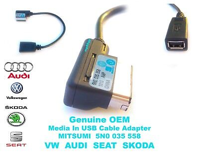 VW Golf Passat AUDI SEAT SKODA Genuine OE Media In USB Lead Cable MDI Adpater