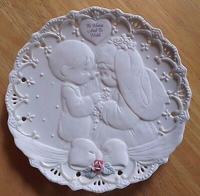 Precious Moments Plate Wedding Bride Groom Vows to Have and to Hold