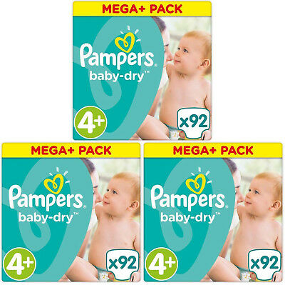 NEUF 276 Couches Pampers baby-dry Taille 4+ Maxi+ de 9 à 18kg Mega Pack