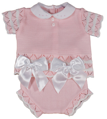 Baby girl Spanish knitted outfit jam pants knickers top BOWS