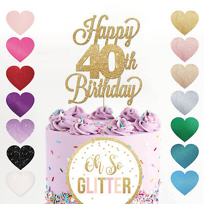 Happy 40th Birthday Cake Topper Forty Daughter Son Sister Brother Glitter