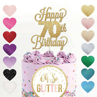 Happy 70th Birthday Cake Topper Seventy Daughter Son Sister Brother Glitter