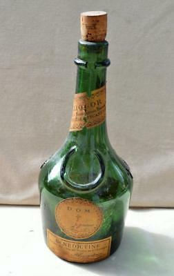 Antique or Vintage D.O.M. Benedictine Liquor empty Green Glass bottle with cork