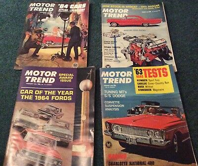 Vintage Lot Of 4 Motor Trend Magazines, 1963/64