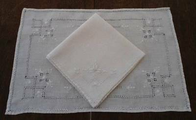 Vintage Linen Placemats Napkins Italian Embroidery Cutwork Ecru Set of 8
