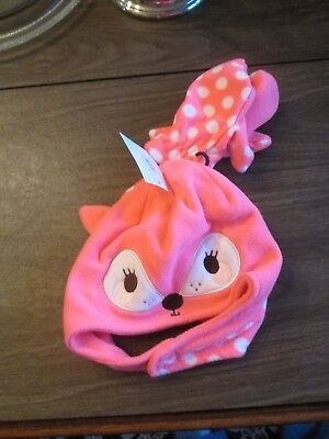 NWT Toddler Soft Fleece Hat with Mittens Size 2T-4T, hot pink deer. Free Ship