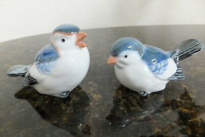 Pair of Vintage Porcelain Otagiri Bird Figurines White & Blue Hand Painted Japan