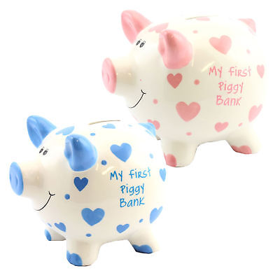 """""""My First Piggy Bank"""" MINI Money Box White with Hearts - Pink or Blue"""