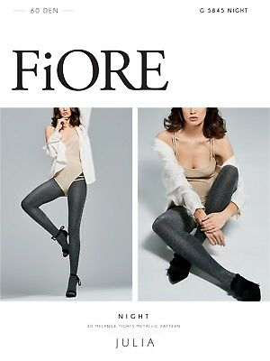 FiORE Night 60 Denier Metallic Patterned Tights from the Julia Collection