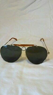NOS Gold/Amber colored Bullet Hole Aviator Sunglasses 1970's Vintage