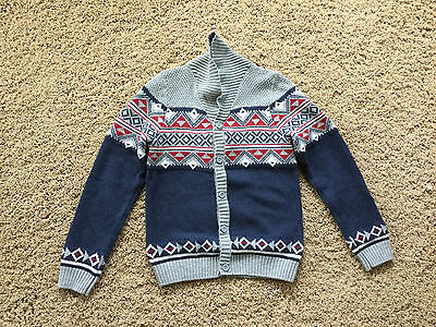 Boys Kids First Wave Long Sleeve Button Down Sweater Navy Red Gray Argyle 10/12