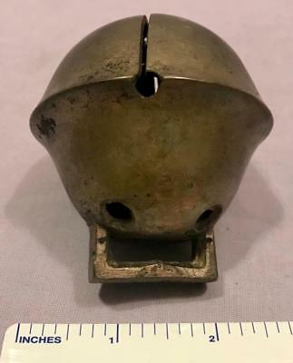 """Vintage Antique Large Horse Sleigh Bell Brass Nice 2 3/4"""" Tall"""