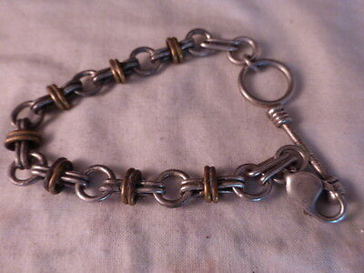 925 Heavy Mexican Sterling Silver Fancy Double Link Bracelet Toggle Clasp Mexico