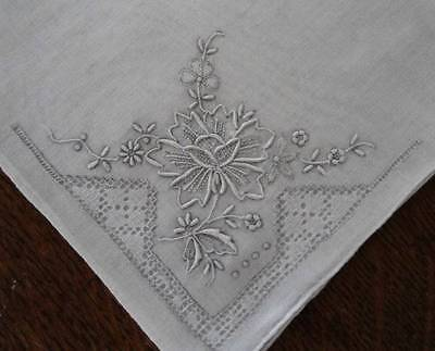 Vintage Set of 2 Madeira Silver Gray Hand Embroidered Hanky DrawnThread Floral