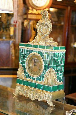 Huge  French   Gilded Figural Bronze  Malachite Mantel Clock 19C.  Stunning