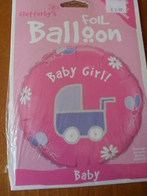 """Brand New 18"""" ' Baby  Girl '  With Pram Foil Pink Balloon"""