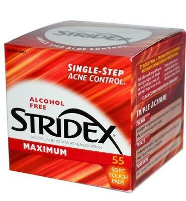 ✅STRIDEX Single-Step Maximum Acne Control - Alcohol Free - 55 Soft Touch Pads
