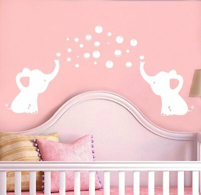LHKSER Cute Elephant Blowing Bubbles Wall Decal Vinyl Wall Sticker Baby Nursery