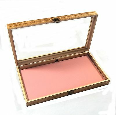 Oak Stained Wood Glass Top Pink Pad Display Box Case Pins Medals Jewelry Knife