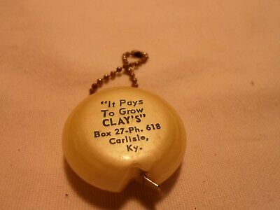 Vintage Burley Tobacco Seed Advertising Key Chain with Tape Measure Carlisle, Ky