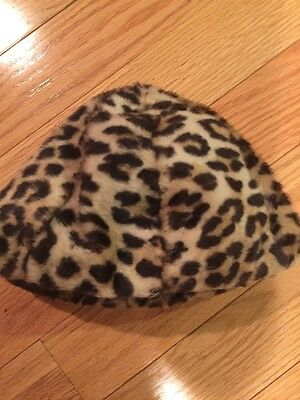 Pretty! Vintage Girls Faux Fur Small Leopard Hat - So Cute! Circa 1950's
