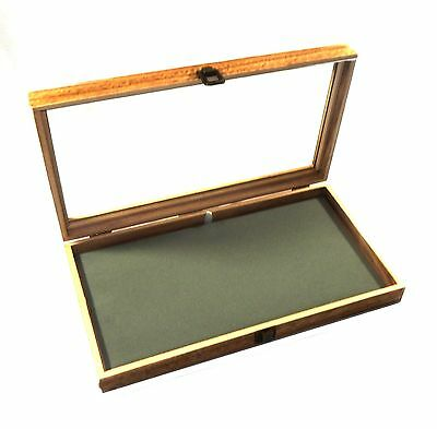 Oak Stained Wood Glass Top Grey Pad Display Box Case Pins Medals Jewelry Knife