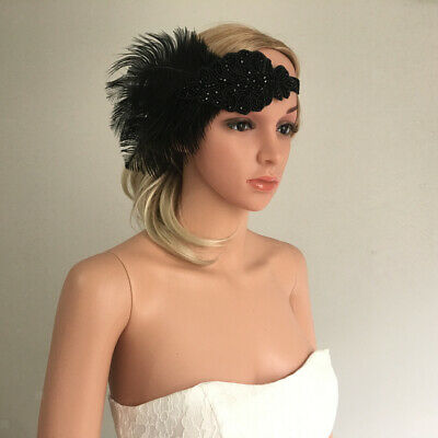 Fascinator Feather Beads Headband Woman Church Party 1920s  Headpiece