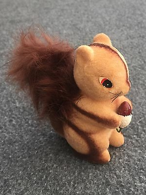 Vintage Furry Flocked SQUIRREL Figurine with Brown Furry Tail & Nut JAPAN Decor