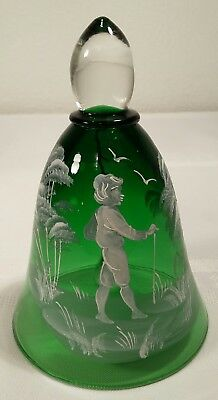 """Mary Gregory Green Glass 4 3/4"""" Bell Hand Painted Boy And Trees"""