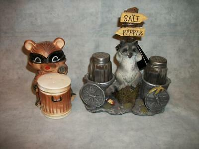 A297 Raccoon Salt & Pepper Shakers Resin Trash Can Japan Collectible Vintage Lot