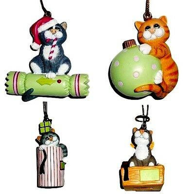 Comic and Curious Cats Set Of 4 New Christmas Ornaments Holiday Decor Free Ship