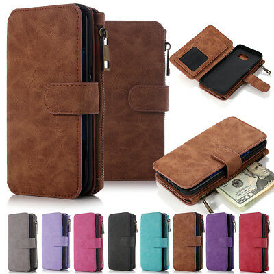 For iPhone 6 Plus Portable Magnetic Detachable Pouch Purse Wallet Card Bag