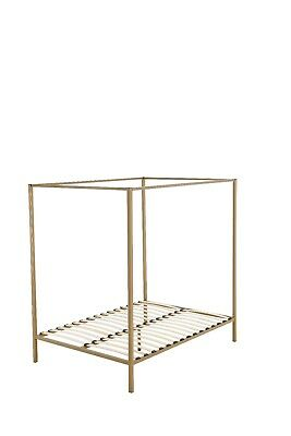 Metal Base Bedroom Gold canopy 4 Poster Bed Double Queen Bed Frame Wood slate