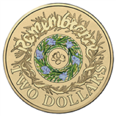 AUSTRALIA 2017 $2 dollar REMEMBRANCE DAY COLOR COIN WW2 RAM UNC now in stock
