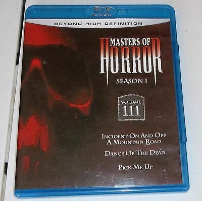 Masters of Horror- Mountain Road-Dance of The Dead- Pick Me Up-Bluray Blu-ray