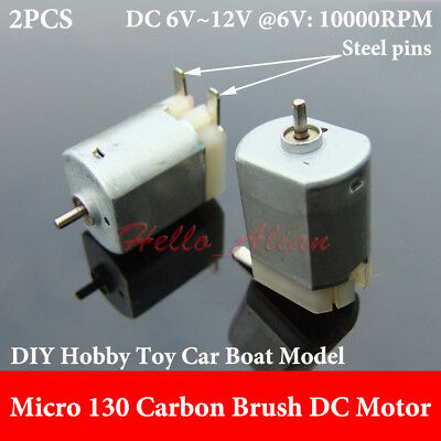 2PCS DC 3V~12V 6V 10000RPM High Speed Carbon Brush Mini 130 Motor Toy Car Boat
