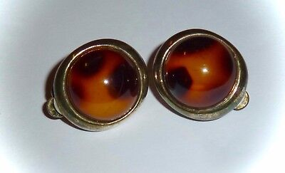 Vintage - Faux Tortoise-Shell Lucite Half-Dome Clip-On Earrings