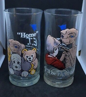 Vintage E.T. THE EXTRA-TERRESTRIAL Drinking Glasses - Pizza Hut Collectibles