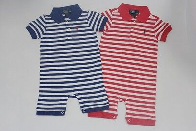 Brand New  Authentic Ralph Lauren Baby Boys Stripe Jumpsuit Size 12M 18M