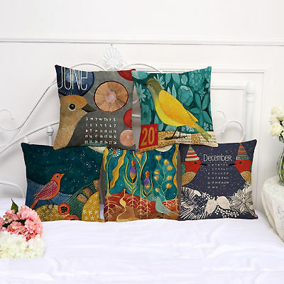 Vintage Bird View Print Throw Pillow Cases Home Decorative Cushion Cover Square