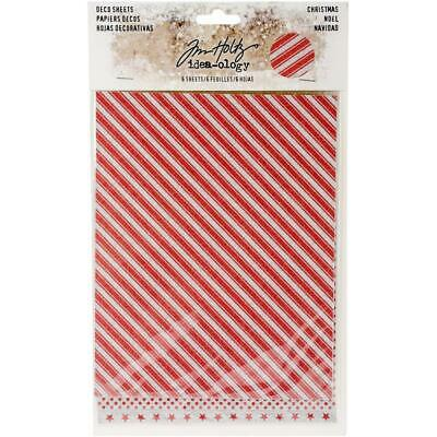 Tim Holtz Idea-Ology Surfaces - Adhesive Backed Christmas Deco - 6 Sheets