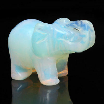 """1.5"""" Hand Carved Elephant Opal Gemstone Lucky Ornament Craft Moonstone Statue"""