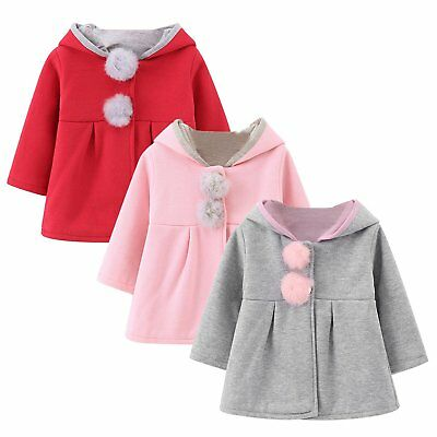Baby Girl Hooded Coat Jacket Bunny Rabbit Ear Outfit Long Sleeve Hoodies Clothes