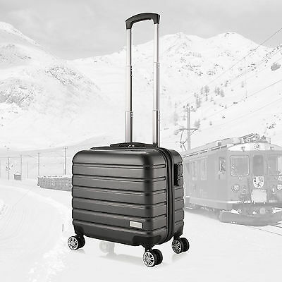"Luxury Small 16"" Pilot Case 4 Wheels PC Hard Shell Spinner Trolley Business Bag"