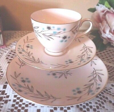 "TUSCAN Bone China Beautiful Pink with Blue ""Southern Star""  Floral TRIO Tea Set"