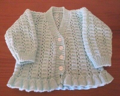 """HAND KNITTED Matinee Coat in Peppermint 16"""" for  0- 3 months"""