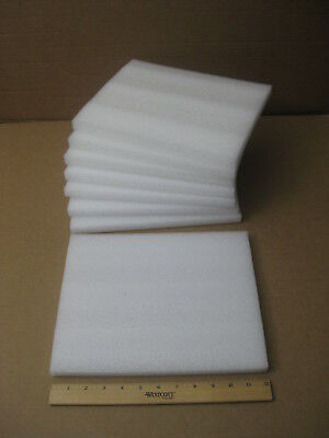 "Lot of 8 White Sheet Polyethylene Packing Shipping Foam_12"" x 10"" x 3/4"""