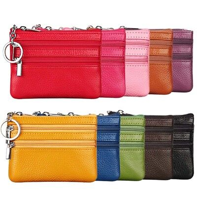 Men Women Leather Card Holder Coin Wallet Clip Key Case Coin Bag Purse Pouch
