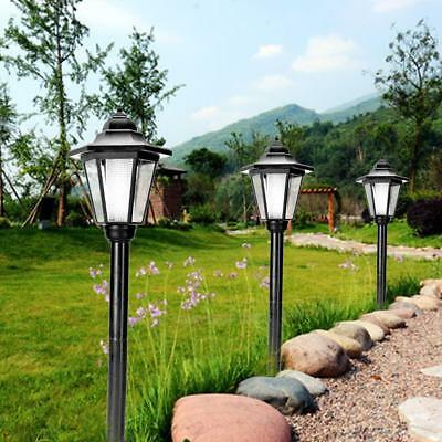Outdoor Solar Powered Light LED Path Way Wall Landscape Mount Garden Fence Lamp