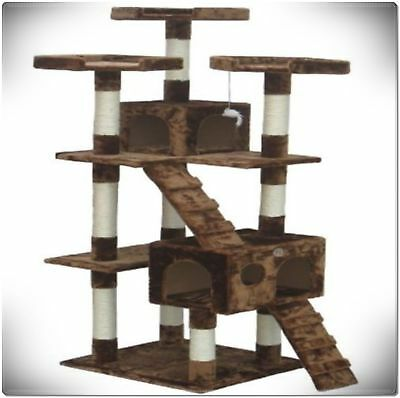 "72"" Cat Tree Tower Condo House For Large Cats Scratching Post Furniture Climbing"